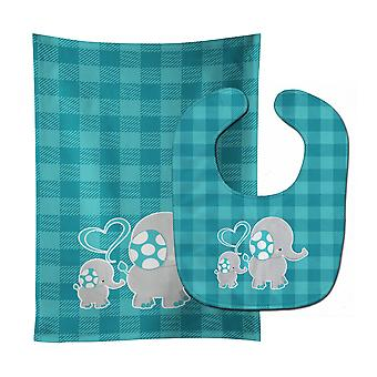 Carolines Treasures  BB6834STBU Mommy and Baby Elephant Baby Bib & Burp Cloth