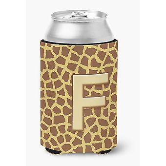 Letter F Initial Monogram - Giraffe Can or Bottle Beverage Insulator Hugger