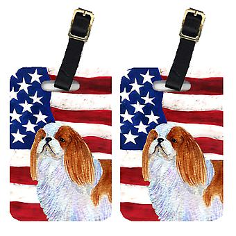 Pair of USA American Flag with English Toy Spaiel USA Luggage Tags