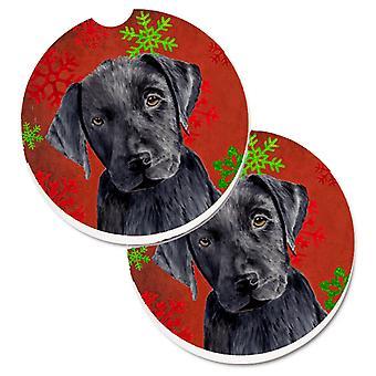 Labrador-rot und grün Schneeflocken Urlaub Weihnachten Set 2 Cup Holder Auto Coas