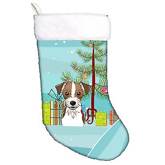Juletræ og Jack Russell Terrier Christmas strømpe