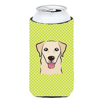Checkerboard Lime Green Golden Retriever Tall Boy Beverage Insulator Hugger