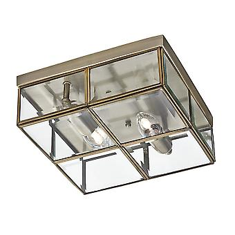 Searchlight 6769-26AB 2 Light Flush Ceiling Light In Antique Brass Frame With Bevelled Glass