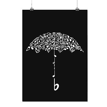 Matte or Glossy Poster with Umbrella Note Music Music | Wellcoda | *d2375