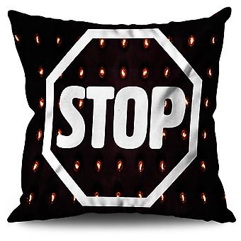 Stop Road Sign Fashion Linen Cushion Stop Road Sign Fashion | Wellcoda