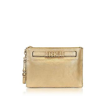 Moschino ladies 84328011A0606 gold leather clutch