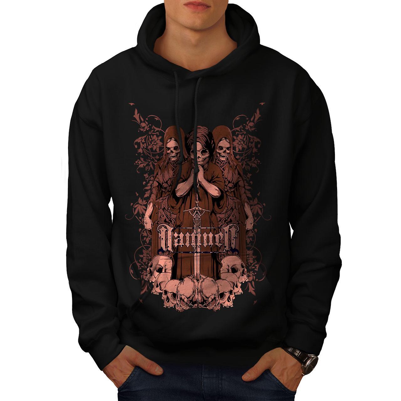 Damned Saint Horror Skull Men Black Hoodie | Wellcoda