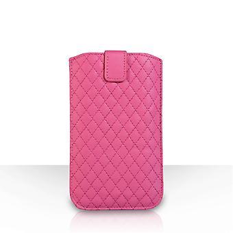 Diamant Muster Auto Return Pull Tab Lederbeutel (L) - Hot Pink