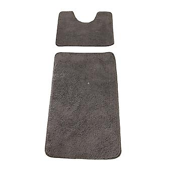 2 Piece Deep Pile Block Colour Bath Mat & Pedestal Mat Set