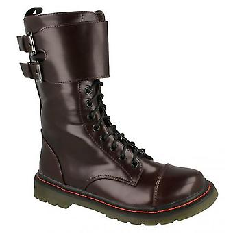 Girls Kids New Military Combat Style Lace Up Mid Calf Ankle Boots Shoes