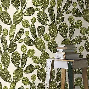 Green & White Cactus Plant Tree Flower Wallpaper Tropical Paste The Wall Vinyl
