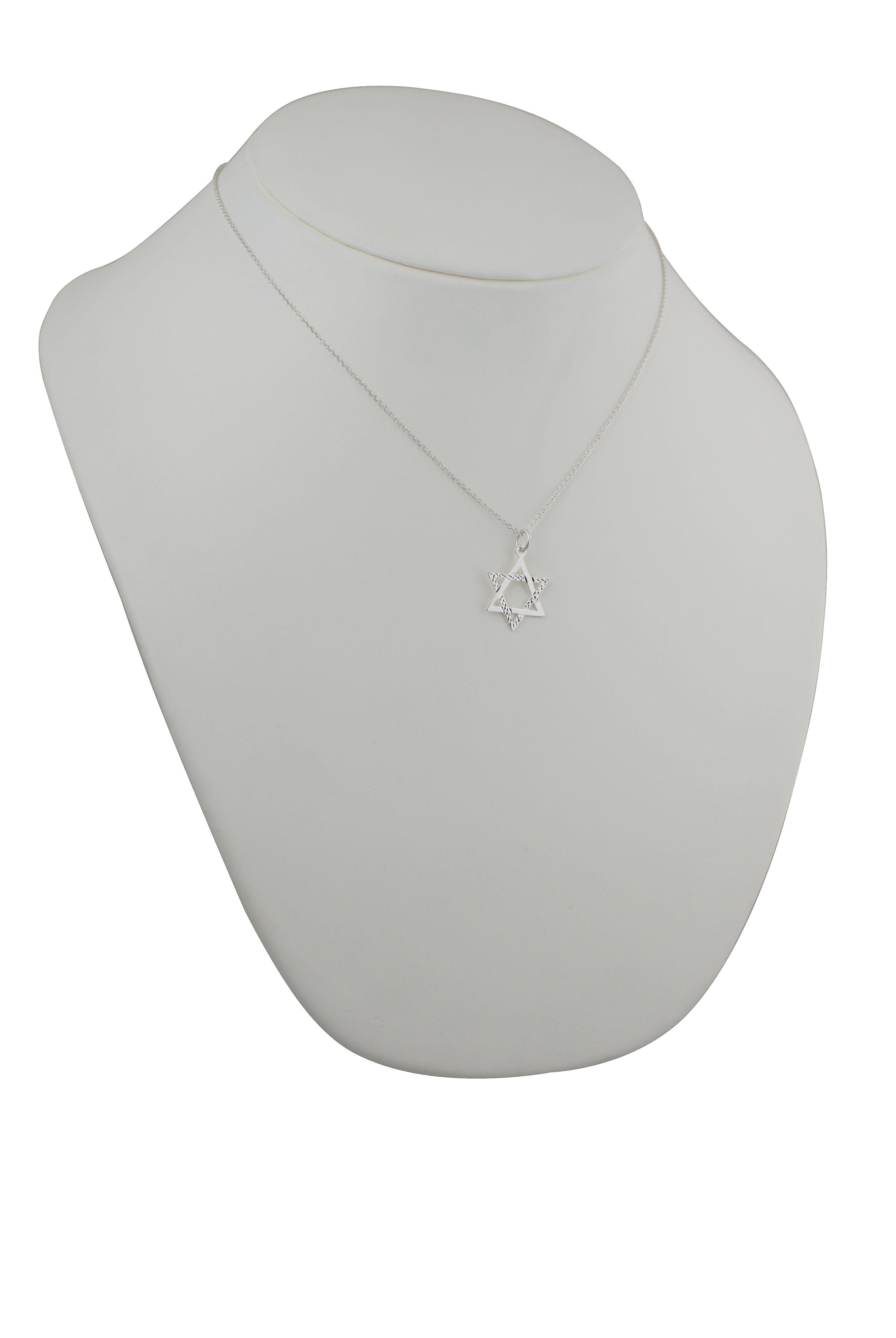 Silver 21x17mm diamond cut Star of David Pendant with a rolo Chain 18 inches