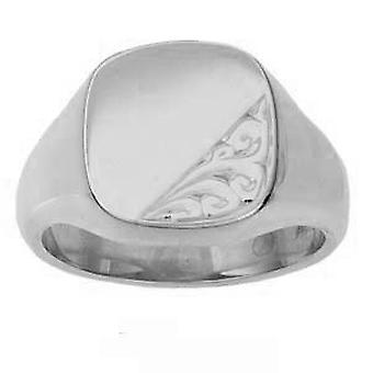 Silver 14x13mm hand engraved solid cushion Signet Ring Size T