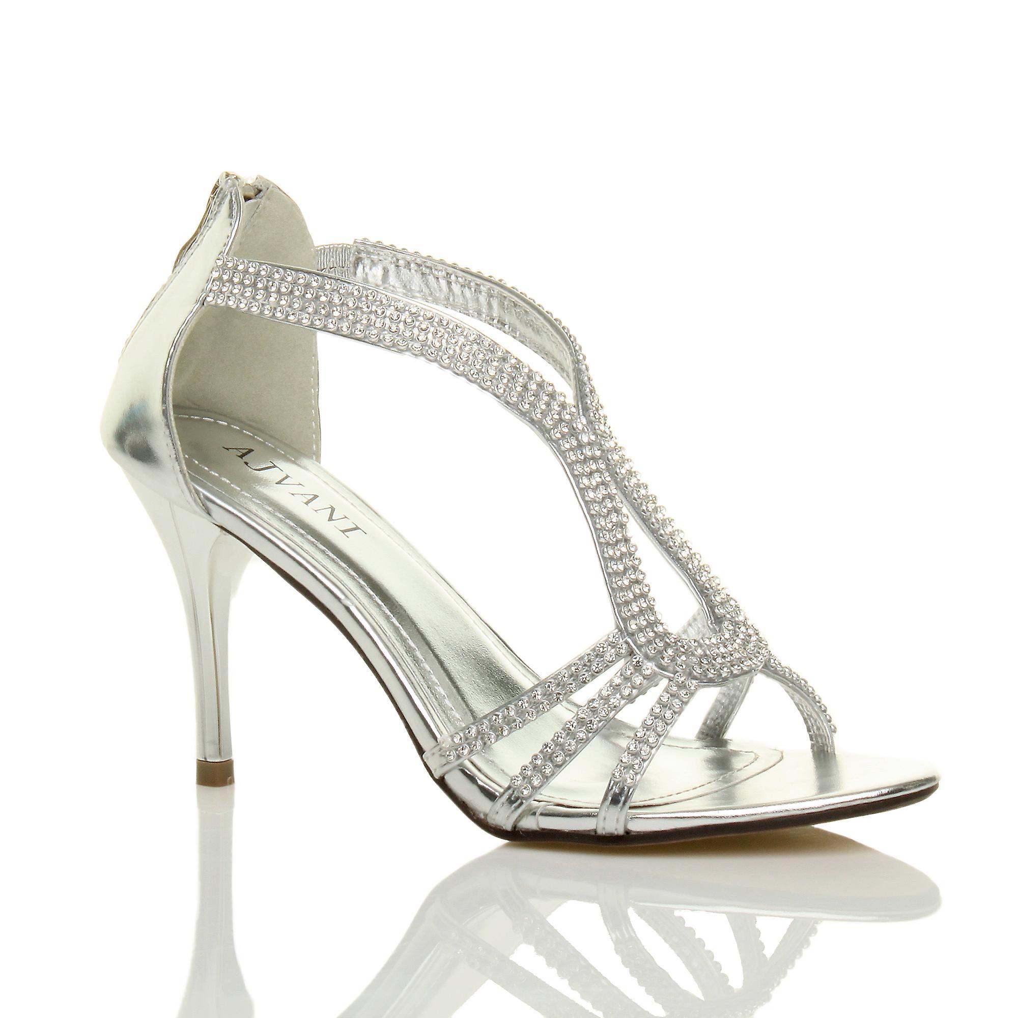 diamante womens Ajvani wedding t high evening heel strappy sandals bar PnZRq1w