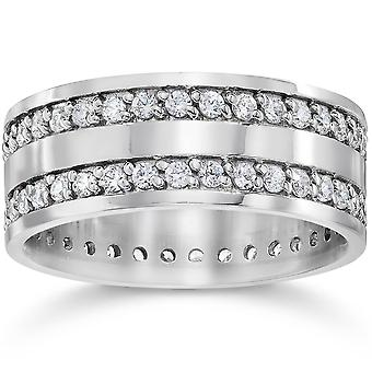 10K White Gold 1 1/2ct Diamond Eternity Ring Wedding Band