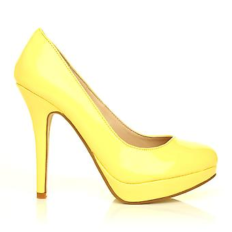 EVE Yellow Patent PU Leather Stiletto High Heel Platform Court Shoes
