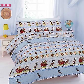Snowden Christmas Printed Duvet Cover Bedding Set Single Double King Super King