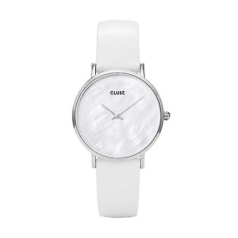 Cluse Cl30060 Minuit La Perle Silver, White Pearl & White Leather Ladies Watch