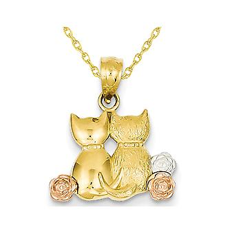 14K Yellow Gold Two Cats Pendant Necklace with Chain