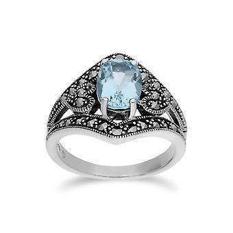 Blu topazio & Marcasite ovale Art Nouveau anello in argento Sterling Gemondo