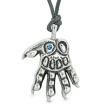 WereWolf Supernatural Power Courage All Seeing Eye Royal Blue Crystal Wolves Paw Cord Necklace