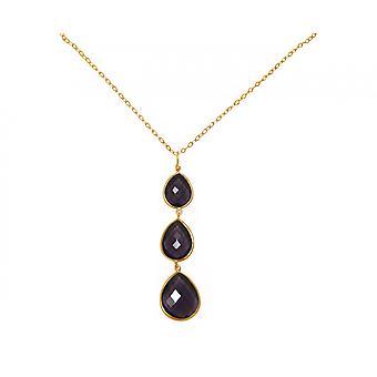 Gemshine - women's - gold plated - pendant - necklace 925 Silver - - Amethyst - purple - violet - CANDY - drops - 9 cm