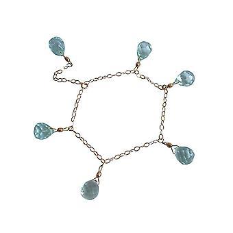 Gemshine - Kinder - Armband - Vergoldet - Aquamarin Quarz - Blau - Größenverstellbar