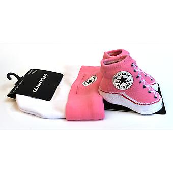 Converse Infant Hat & Booties - Pink