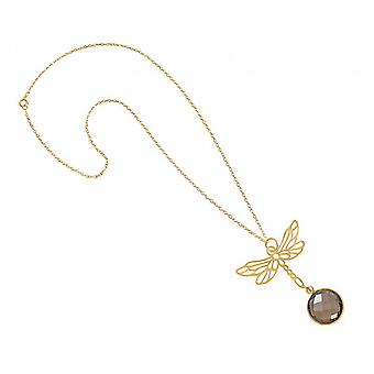 Necklace - pendants - silver - gilt - Dragonfly - smoky quartz - Brown - 45 cm