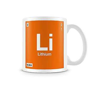 Mug imprimé scientifique, mettant en vedette élément symbole 003 Li - Lithium