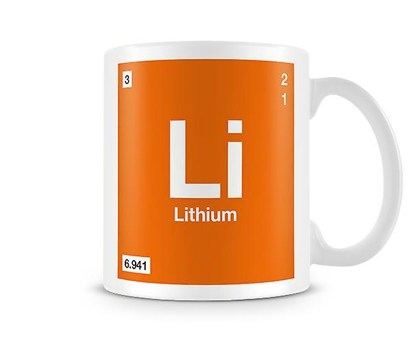 Scientifico stampato tazza con elemento simbolo 003 Li - litio