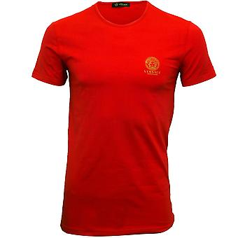 Versace Iconic Crew-Neck Stretch Cotton T-Shirt, Red