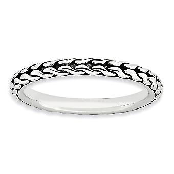 2,5 mm acabado plata brillante con motivos antiguos apilable expresiones antiguo anillo - tamaño del anillo: 5 a 10