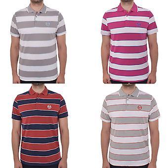 Sergio Tacchini Mens Hetton Retro Block Stripe Short Sleeve Polo Shirt Top