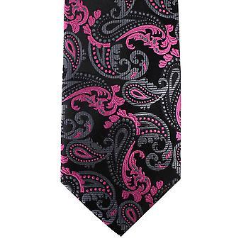 David Van Hagen Paisley Tie - preto/Pink
