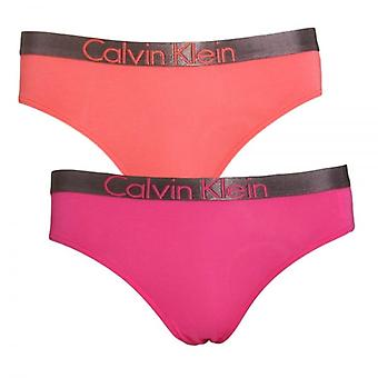 Calvin Klein Girls 2 Pack Customized Stretch Bikini Brief, Calypso Coral / Lilac Rose, X-Large