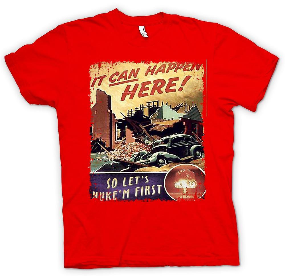 Herr T-shirt-kalla kriget Vintage affisch Nuke Em