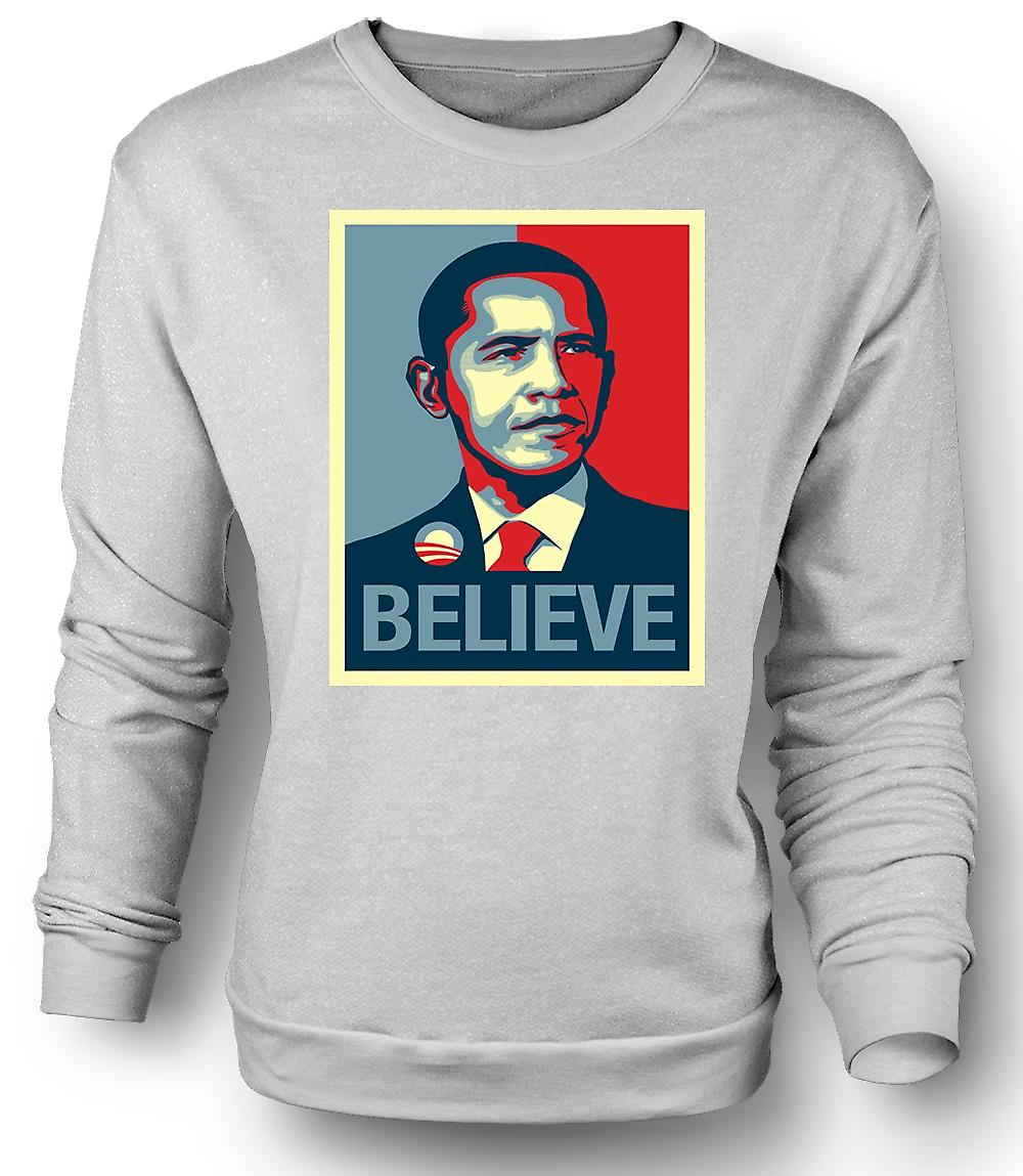 Mens Sweatshirt Obama Believe Change