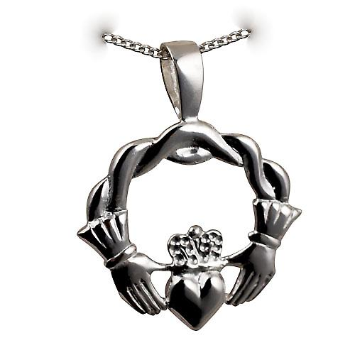 Silver 27x30mm twisted cord top Claddagh Pendant with a curb Chain 20 inches