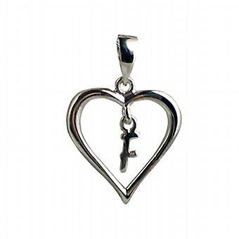 Серебряное сердце кулон с висит первоначальный F