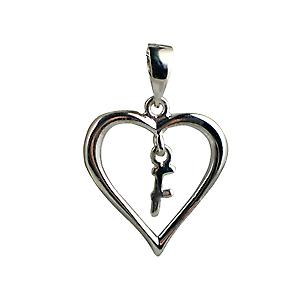 Silver heart Pendant with a hanging Initial F