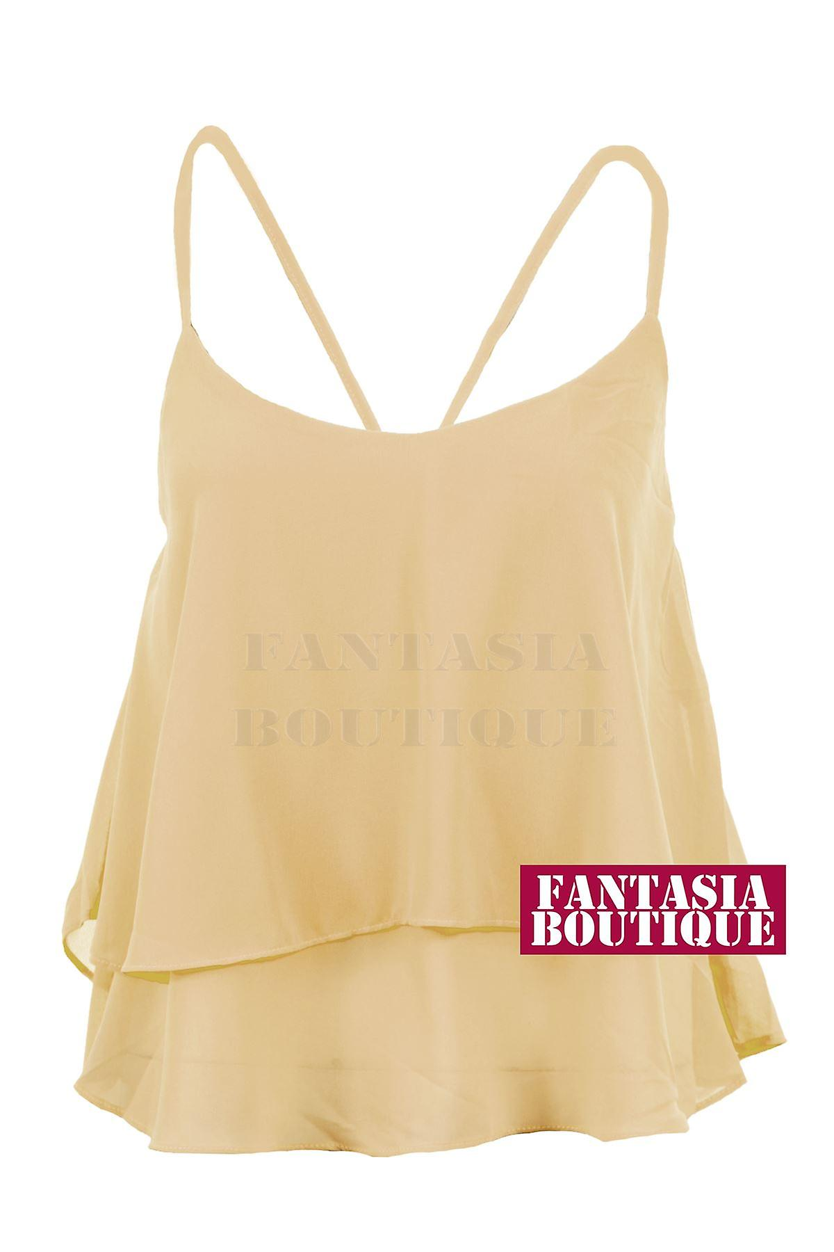 New Ladies Sleeveless Chiffon Frill Short Layered Crop Strap Top Women's Vest