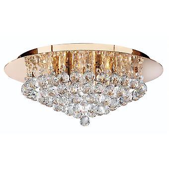 Hanna Gold 6 lys Semi Flush loftlampe med krystaller - projektør 3406-6GO