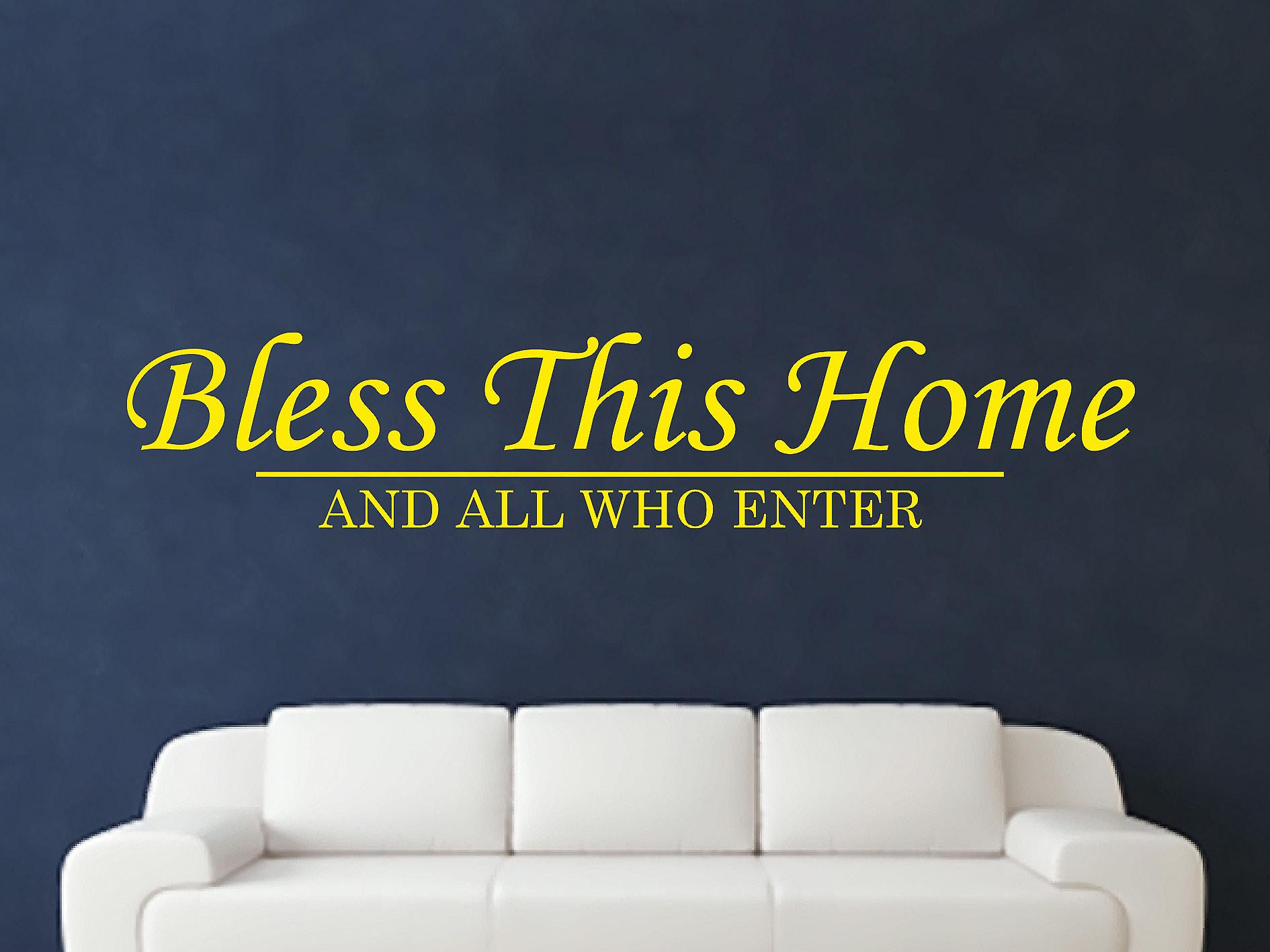 Bless This Home Wall Art Sticker - Bright Yellow