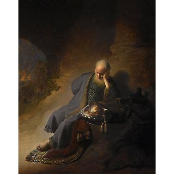 The Prophet Jeremiab Mourning over the,Rembrandt,50x40cm
