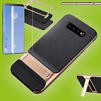 Standing hybrid case bag for Samsung Galaxy S10 plus G975F Gold 6.4 inch + 4 d H9 hard glass