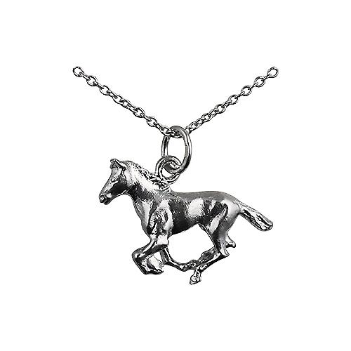 Silver 15x22mm galloping Horse Pendant with a rolo Chain 18 inches