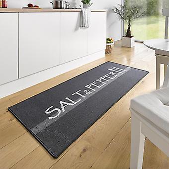 Design suede kitchen runner salt & pepper Grau Weiß 67 x 180 cm | 102395