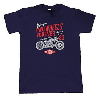 Zwei Räder für immer Herren T-Shirt | Motorrad Scooter Street Cafe Racer Fahrer Beiwagen | Hoffnung Lachen Liebe gut Zeit Vibes Erinnerungen Leben | Motorräder Geschenk ihn Papa