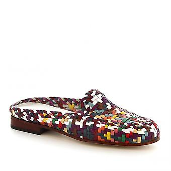 Leonardo Shoes Women's handmade mules in multicolored woven calf leather